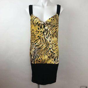 Arden B Sheath Dress Yellow Tiger Print Stretch M